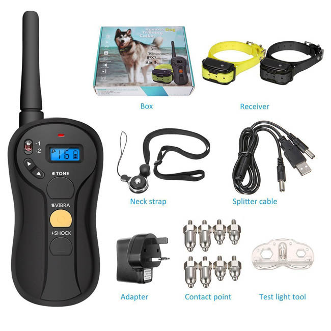 Electric Dog training Shock Collar With Remote 655yd Rechargeable and Waterproof Dog training Collar