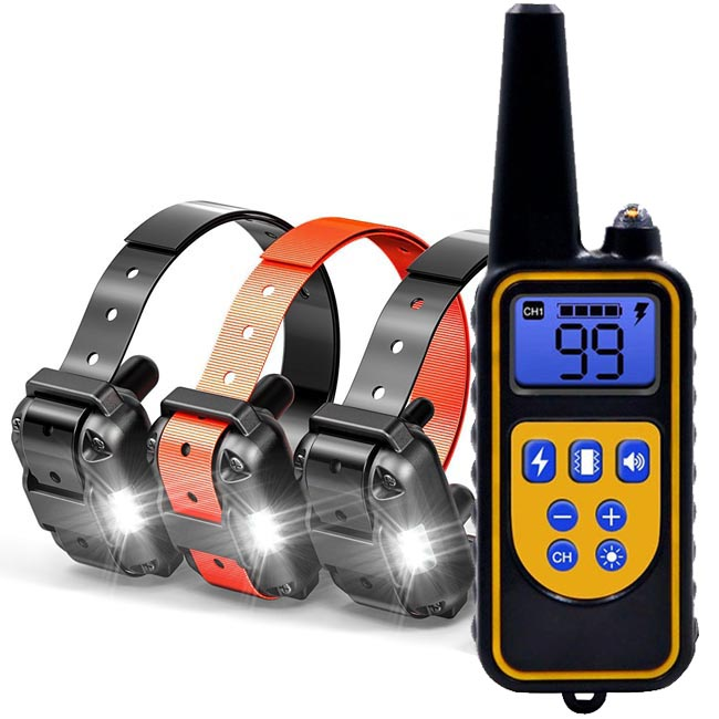 dog training collar 800M remote rechargeable and waterproof dog trainer for 3 dogs